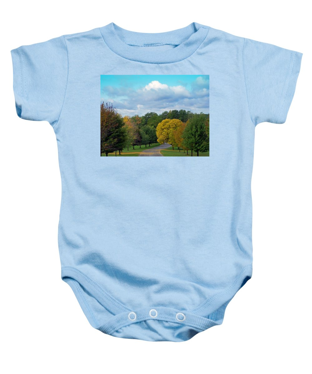 Autumn Baby Onesie featuring the photograph Autumn Road by Aimee L Maher ALM GALLERY