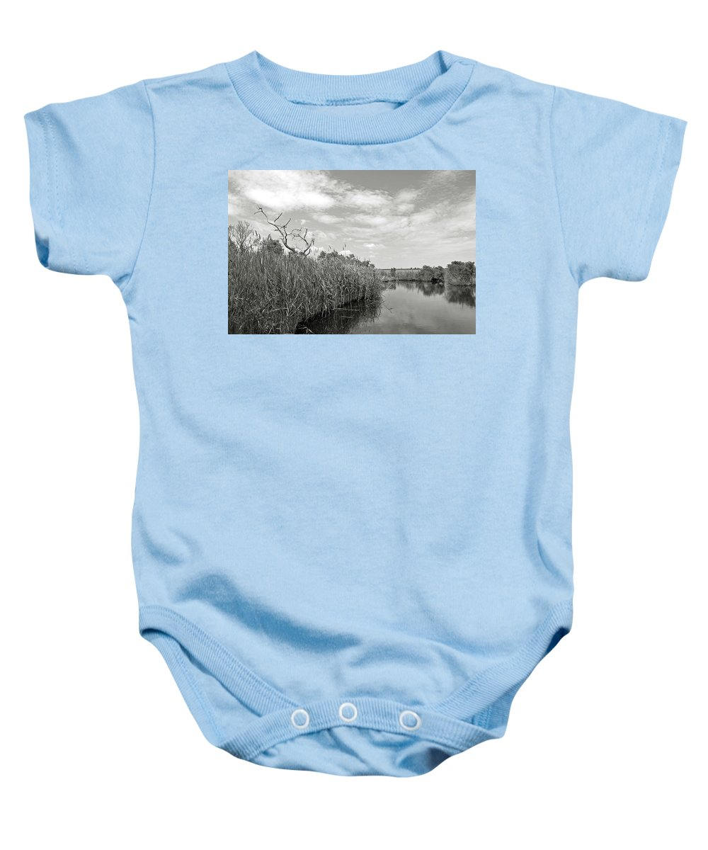 Black And White Baby Onesie featuring the photograph Back Bay In Bw by MCM Photography