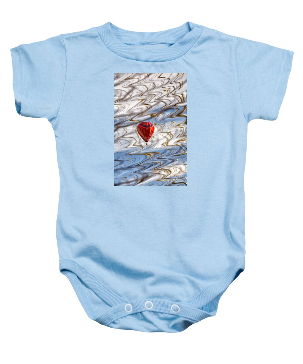 Abstract Baby Onesie featuring the photograph Balloon Shimmy by Dee Johnson