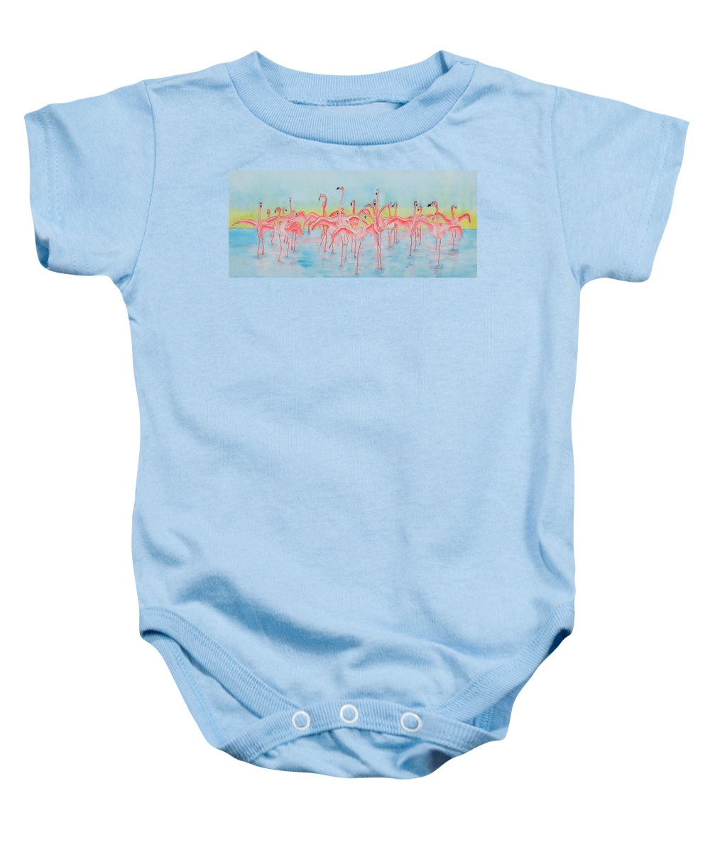 Flamingos Baby Onesie featuring the painting Band On The Run by Rhonda Leonard