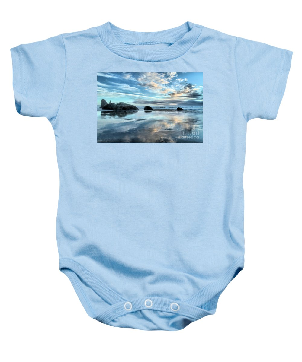 Bandon Beach Baby Onesie featuring the photograph Bandon Rock Garden by Adam Jewell