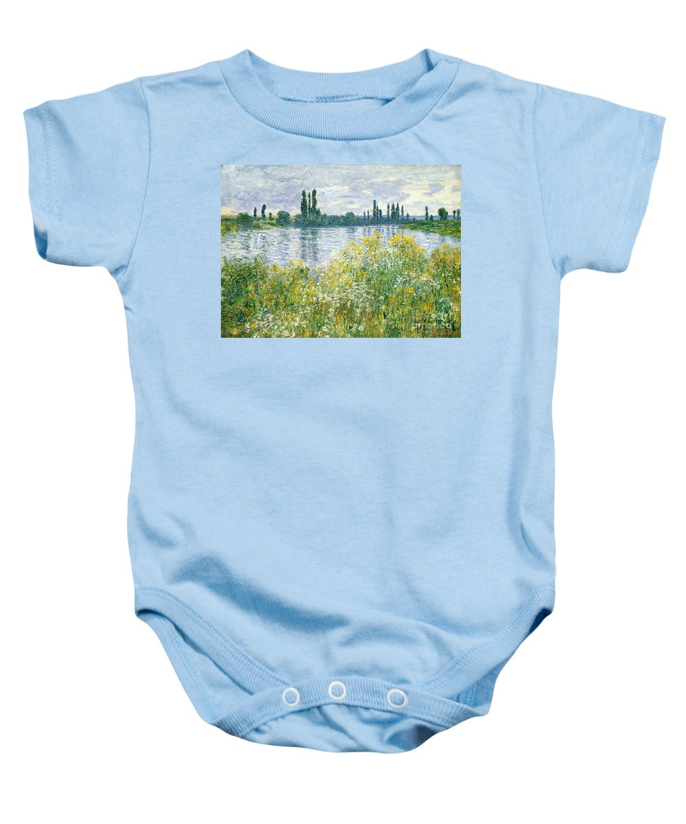 Landscape; River; Rural; Summer; Wild Flowers; Yellow; Reflection; Water; Blue Sky; Impressionist; French Baby Onesie featuring the painting Banks Of The Seine Vetheuil by Claude Monet
