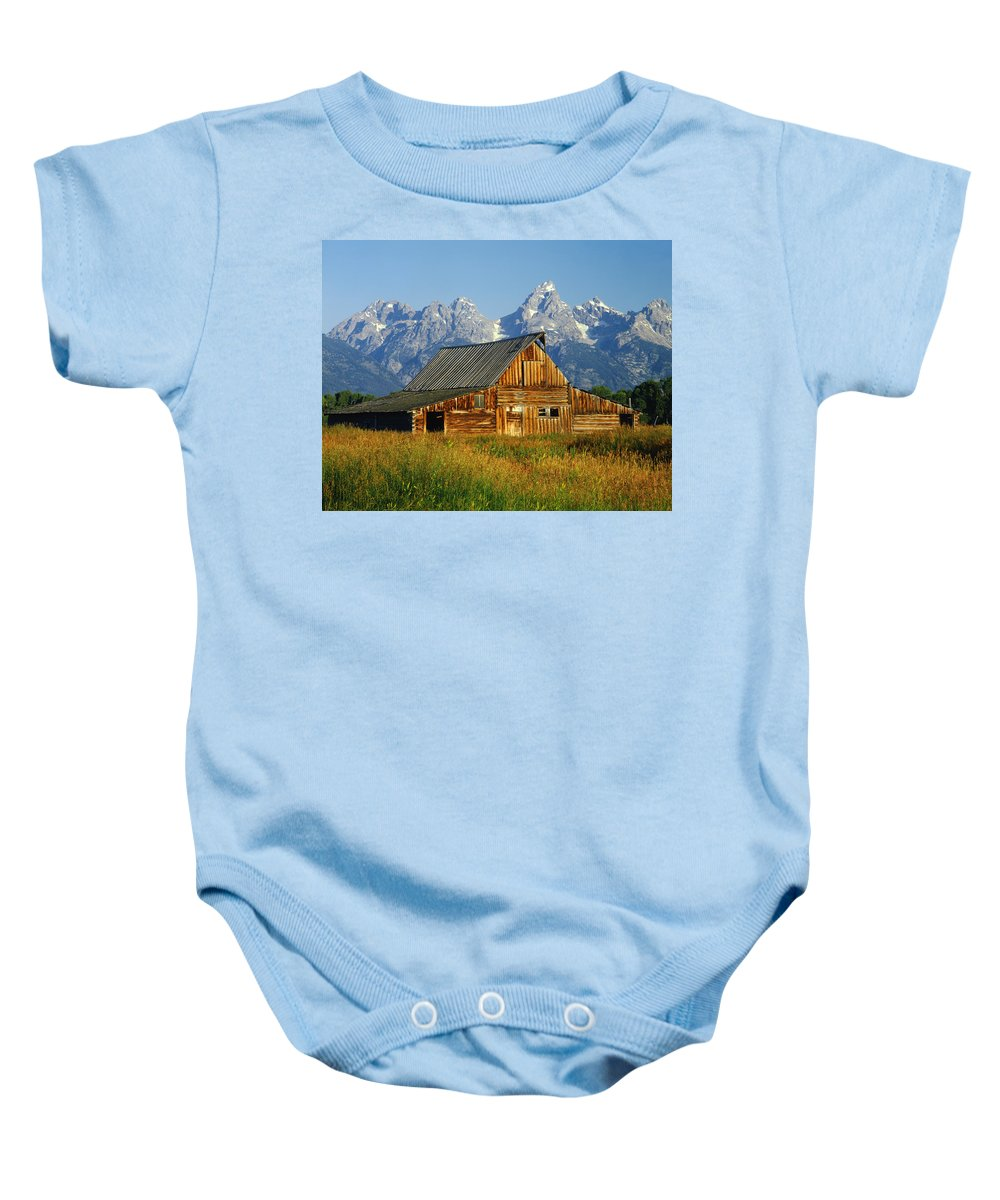 Jackson Hole Ranch Country Baby Onesie featuring the photograph 1m9394-barn And The Tetons by Ed Cooper Photography