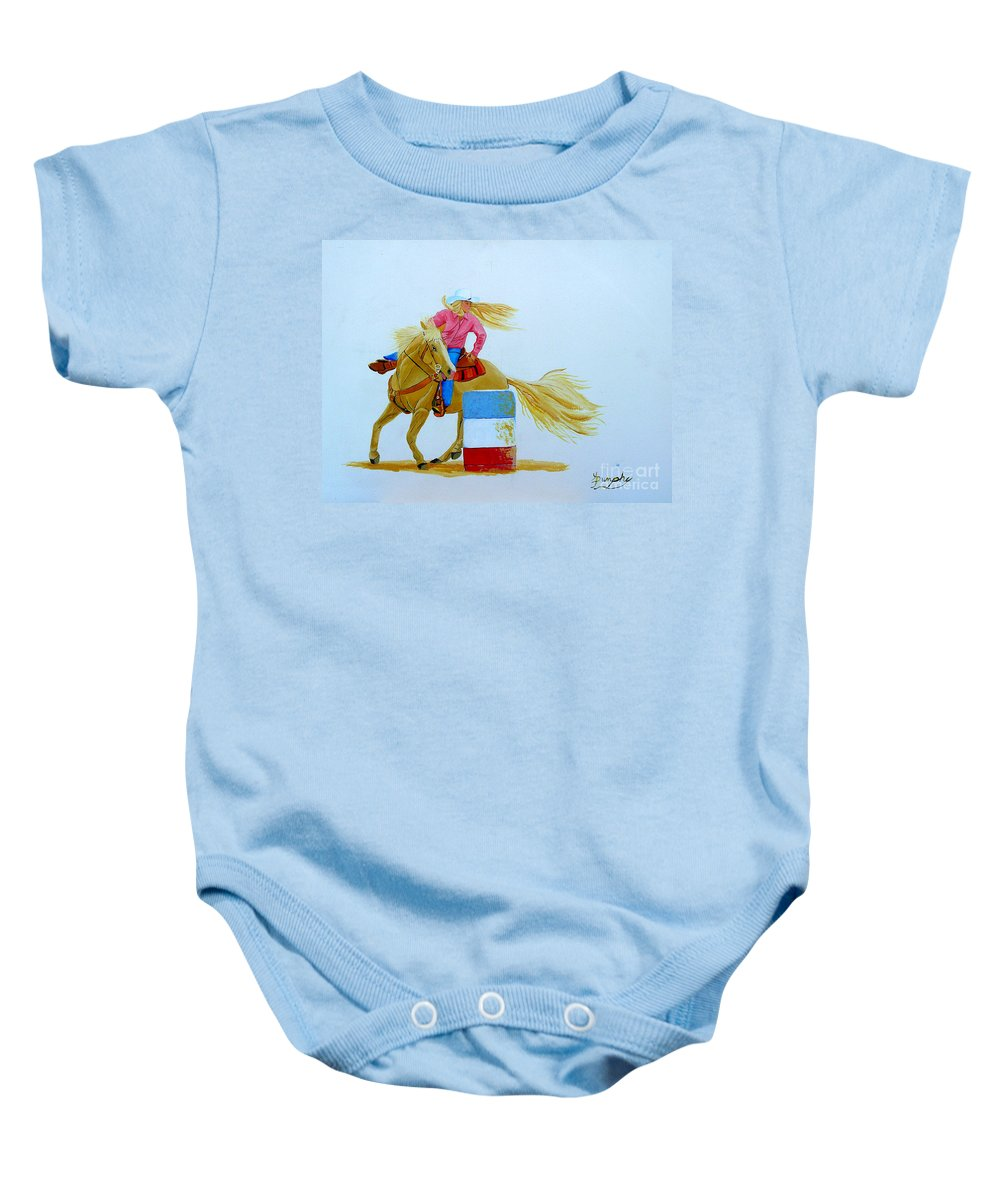 Rodeo Baby Onesie featuring the painting Barrel Racer by Anthony Dunphy