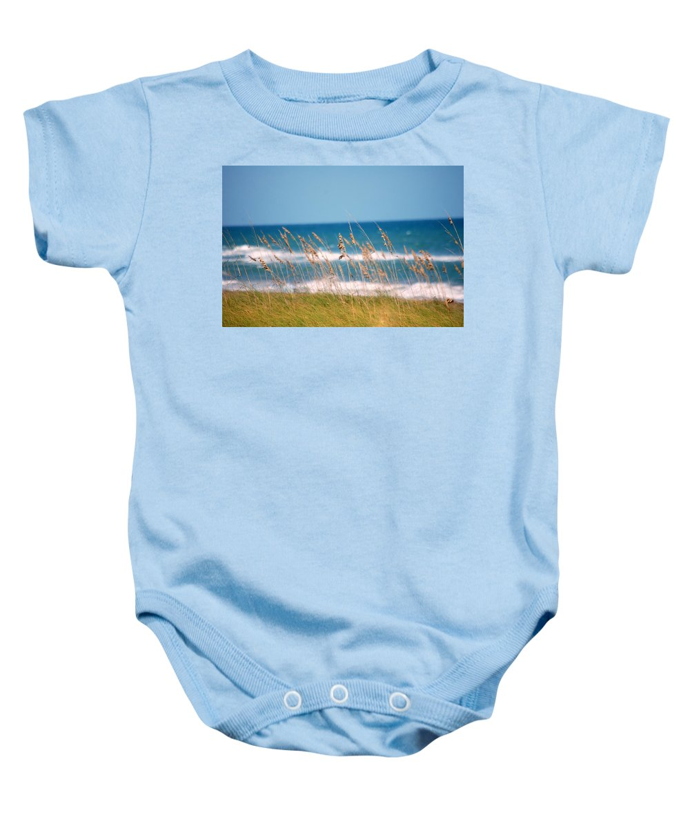 Beach Baby Onesie featuring the photograph Beach Front 001 by Larry Ward