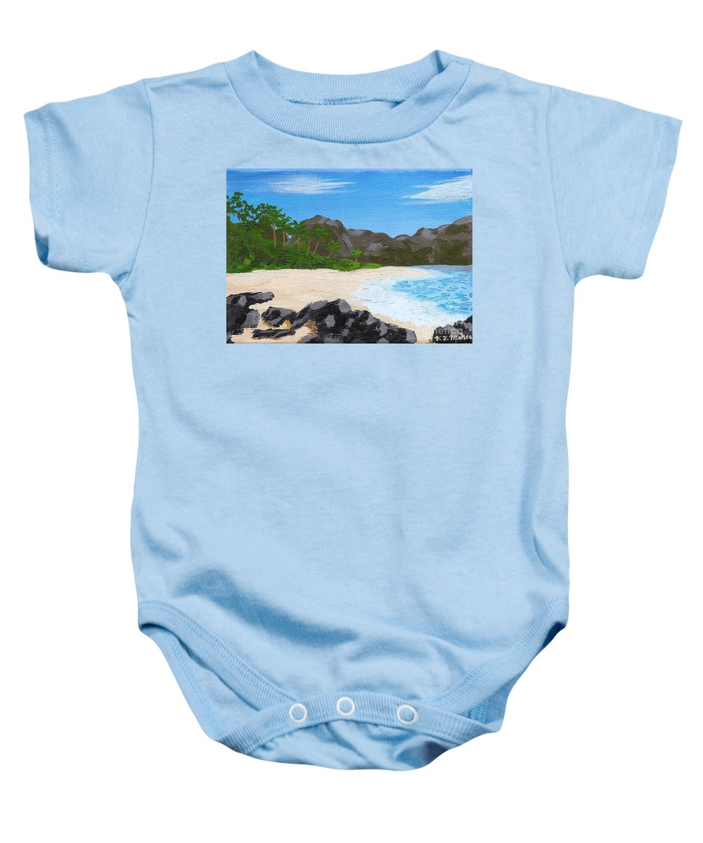 Beach Baby Onesie featuring the painting Beach On Helicopter Island by Vicki Maheu