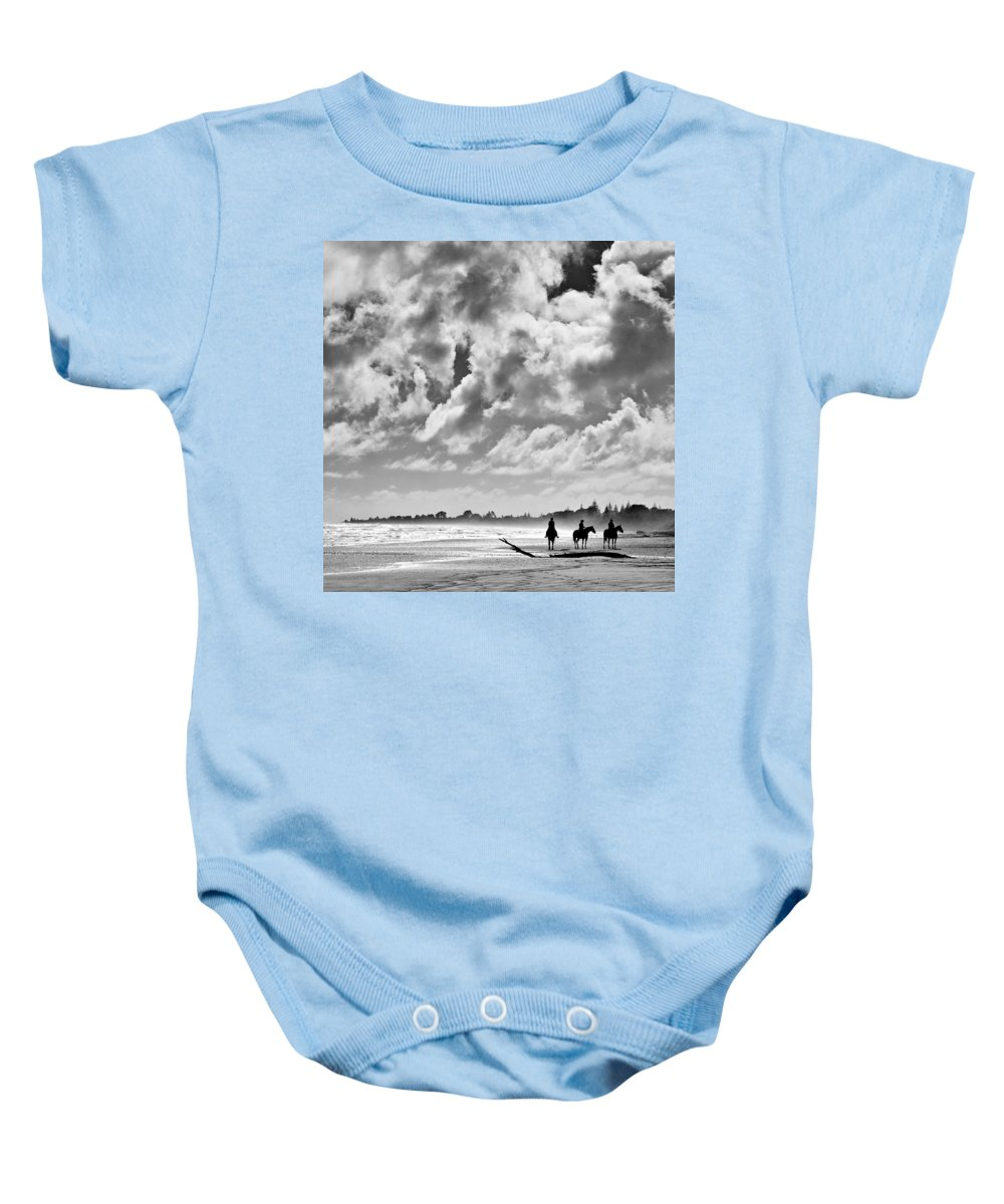 Ride Baby Onesie featuring the photograph Beach Riders by Dave Bowman