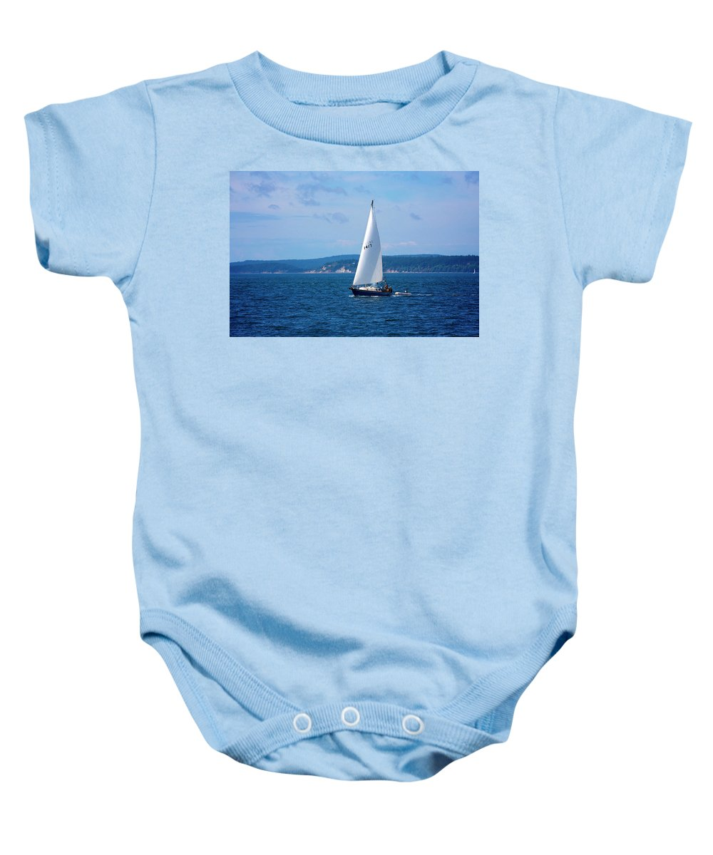 Wind Baby Onesie featuring the photograph Beautiful Boat Sailing At Puget Sound by Evgeny Vasenev