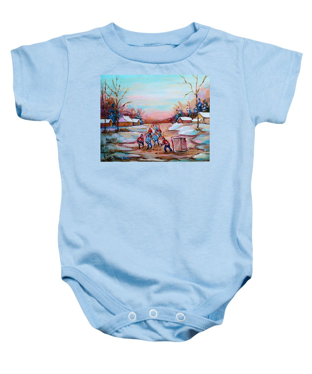Country Hockey Rink Baby Onesie featuring the painting Beautiful Day For Pond Hockey Winter Landscape Painting by Carole Spandau