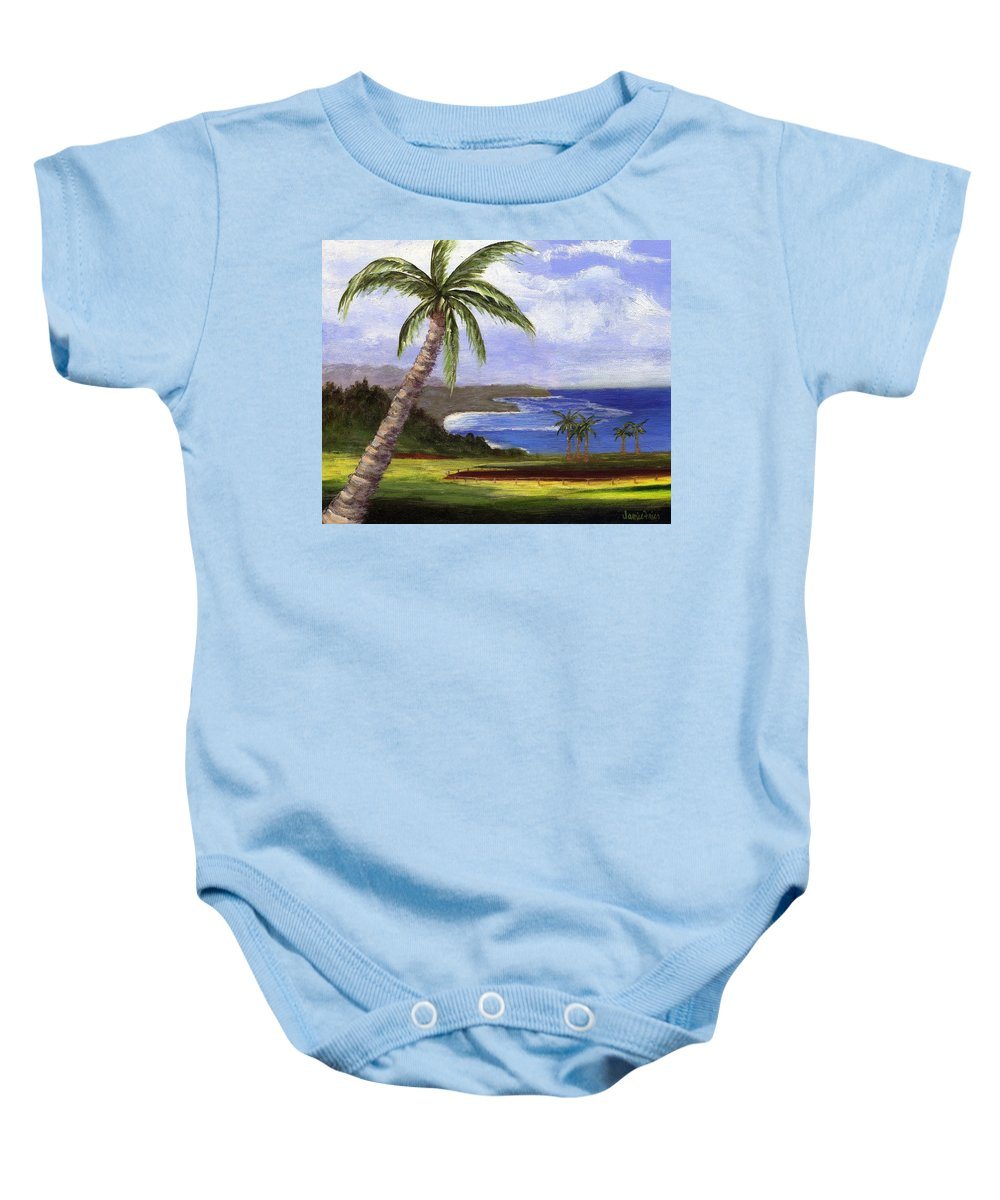 Palm Tree Baby Onesie featuring the painting Beautiful Kauai by Jamie Frier