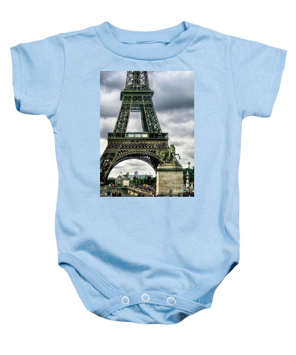 Paris Baby Onesie featuring the photograph Beneath The Eiffel Tower by Jennie Breeze