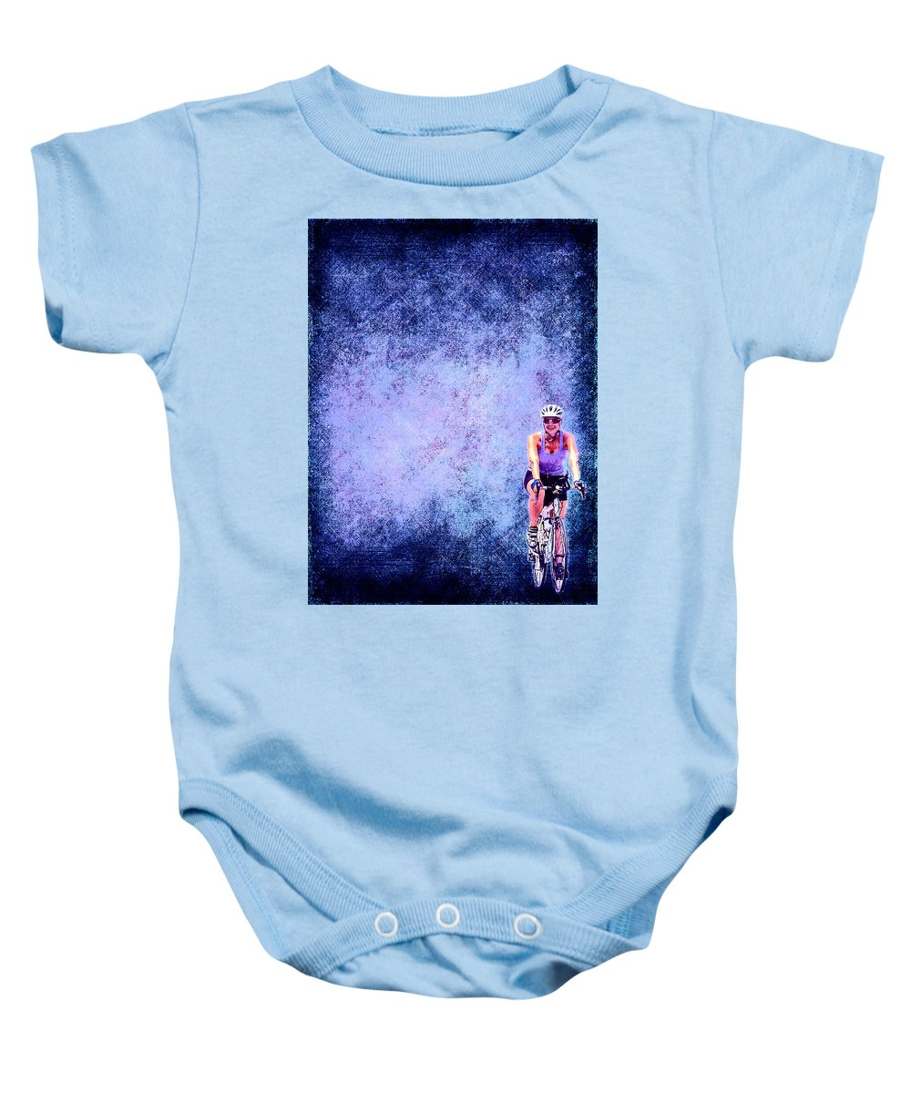 Bicycle Baby Onesie featuring the digital art Bicycle Rider On Blue Background by Cassie Peters