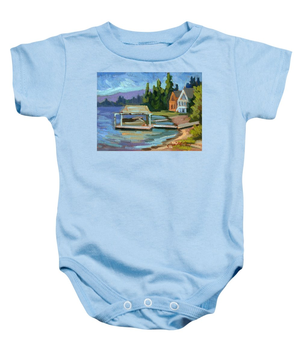 Big Bear Baby Onesie featuring the painting Big Bear Lake South Shore 2 by Diane McClary