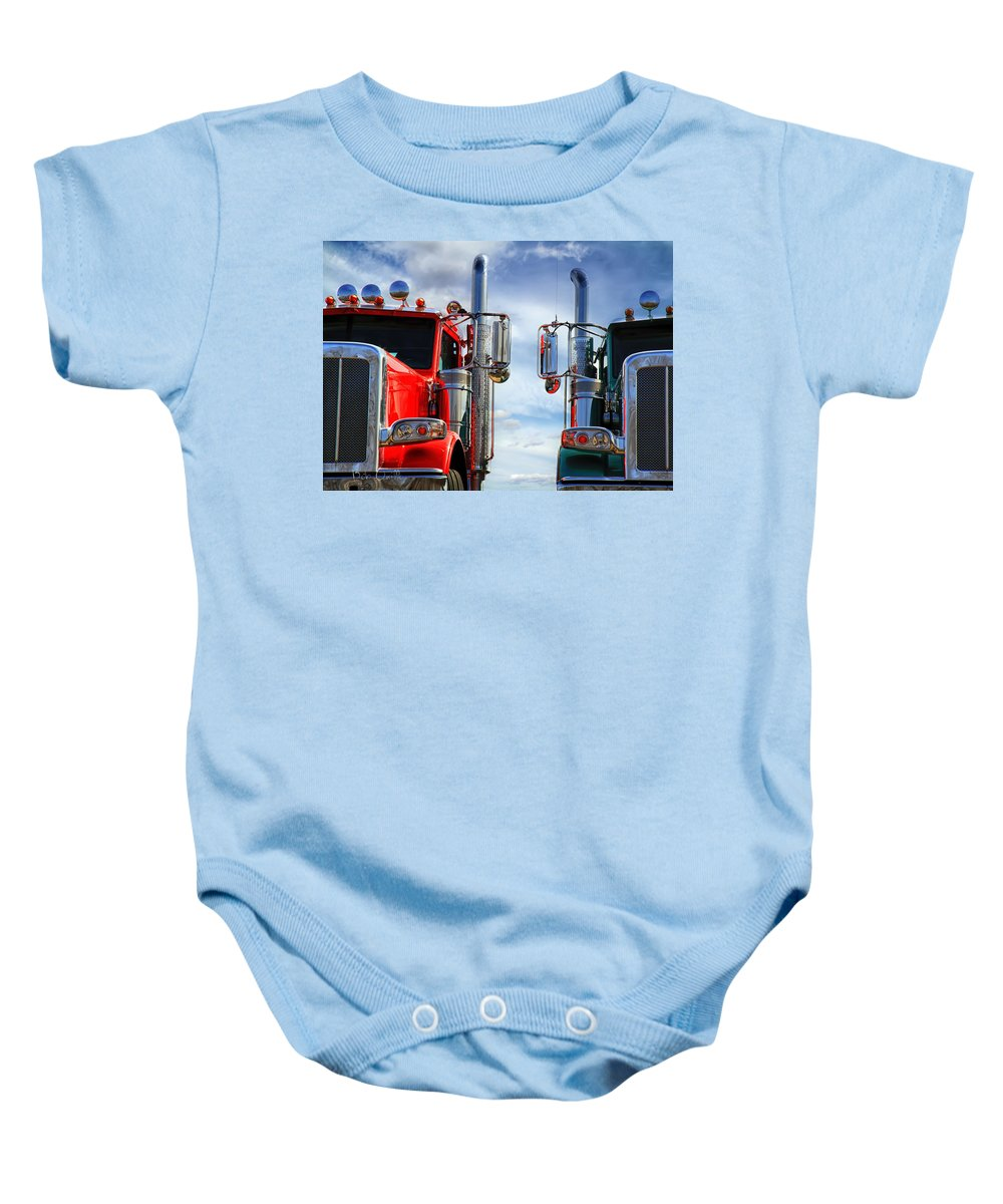Transportation Baby Onesie featuring the photograph Big Trucks by Bob Orsillo