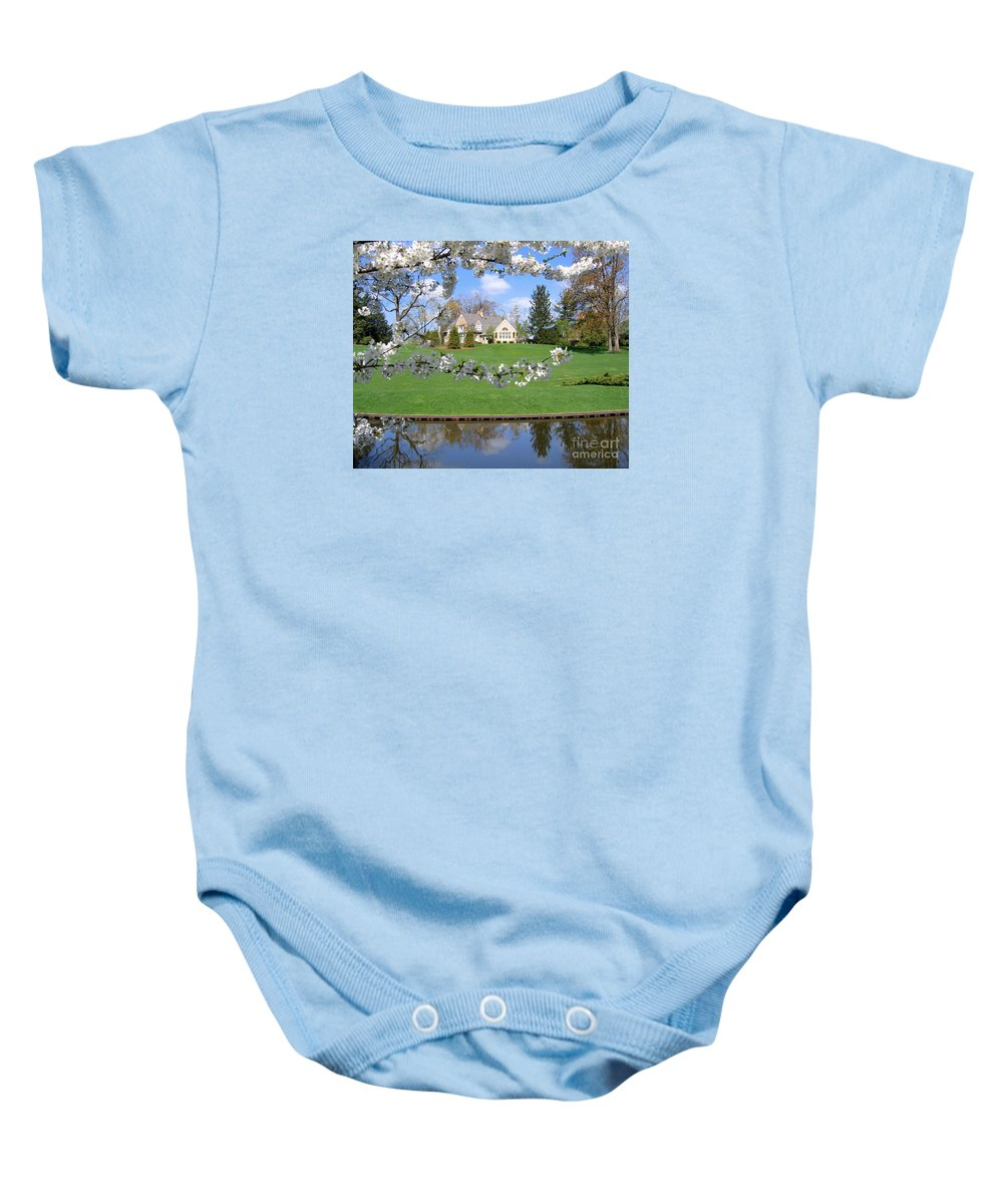 Spring Baby Onesie featuring the photograph Blossom-framed House by Ann Horn