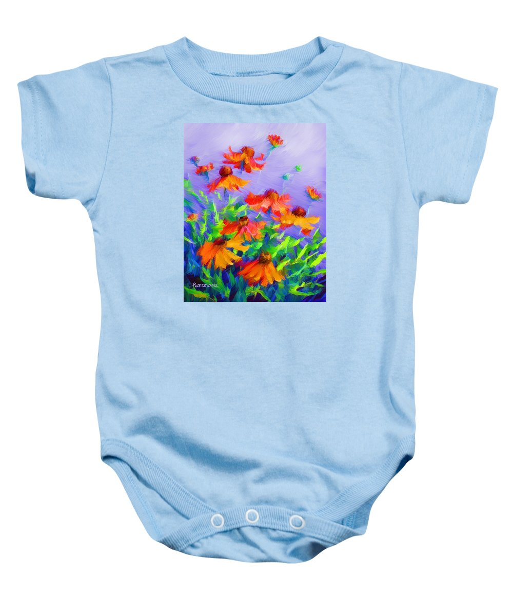 Blowing In The Wind Baby Onesie featuring the painting Blowing In The Wind by Georgiana Romanovna