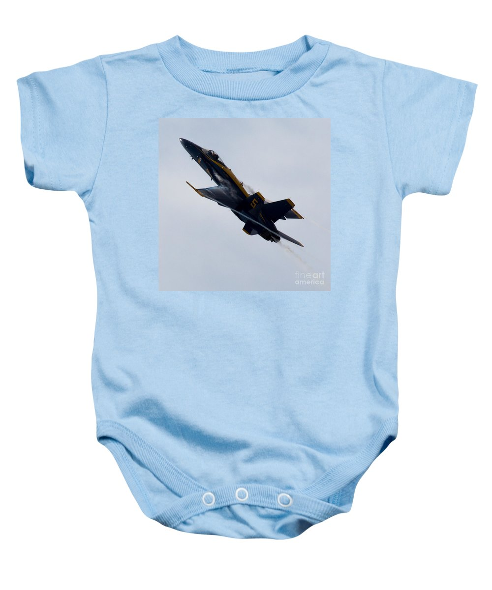 Blue Angel Baby Onesie featuring the photograph Blue Angel 5 Condensation Climb by John Daly