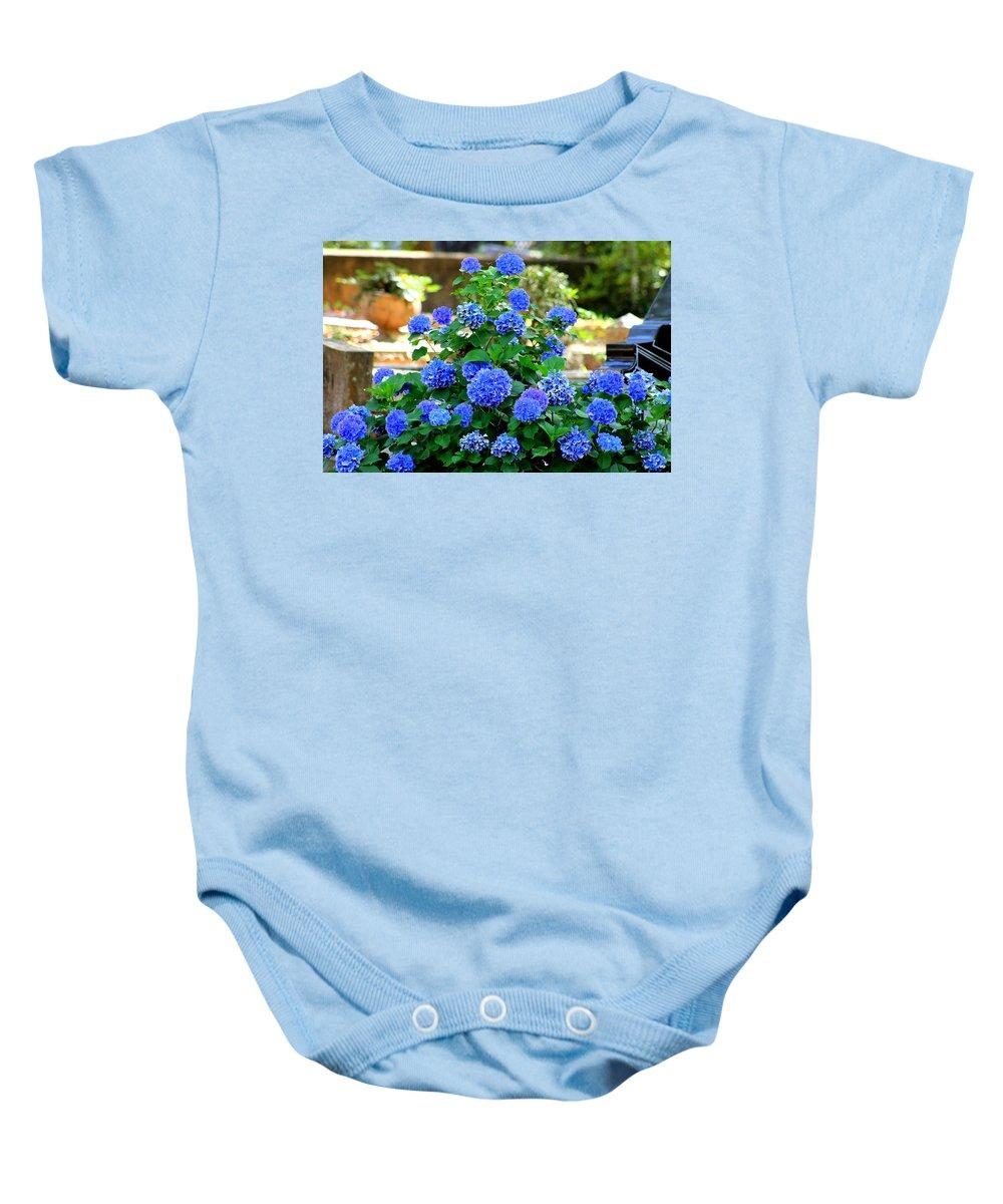 Hydrangeas Baby Onesie featuring the photograph Blue At Bonaventure by Kay Mathews