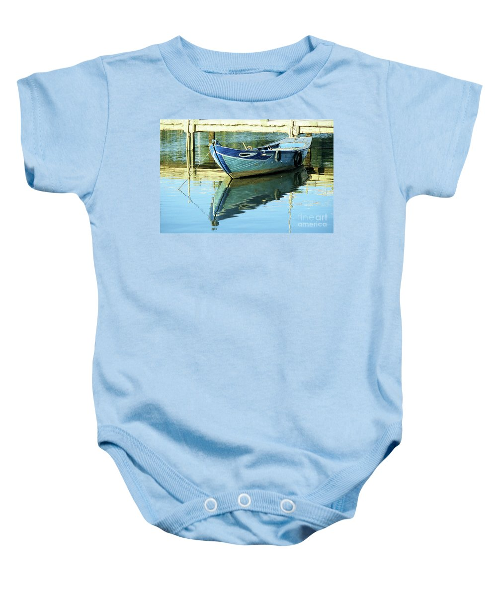 Vietnam Baby Onesie featuring the photograph Blue Boat 01 by Rick Piper Photography
