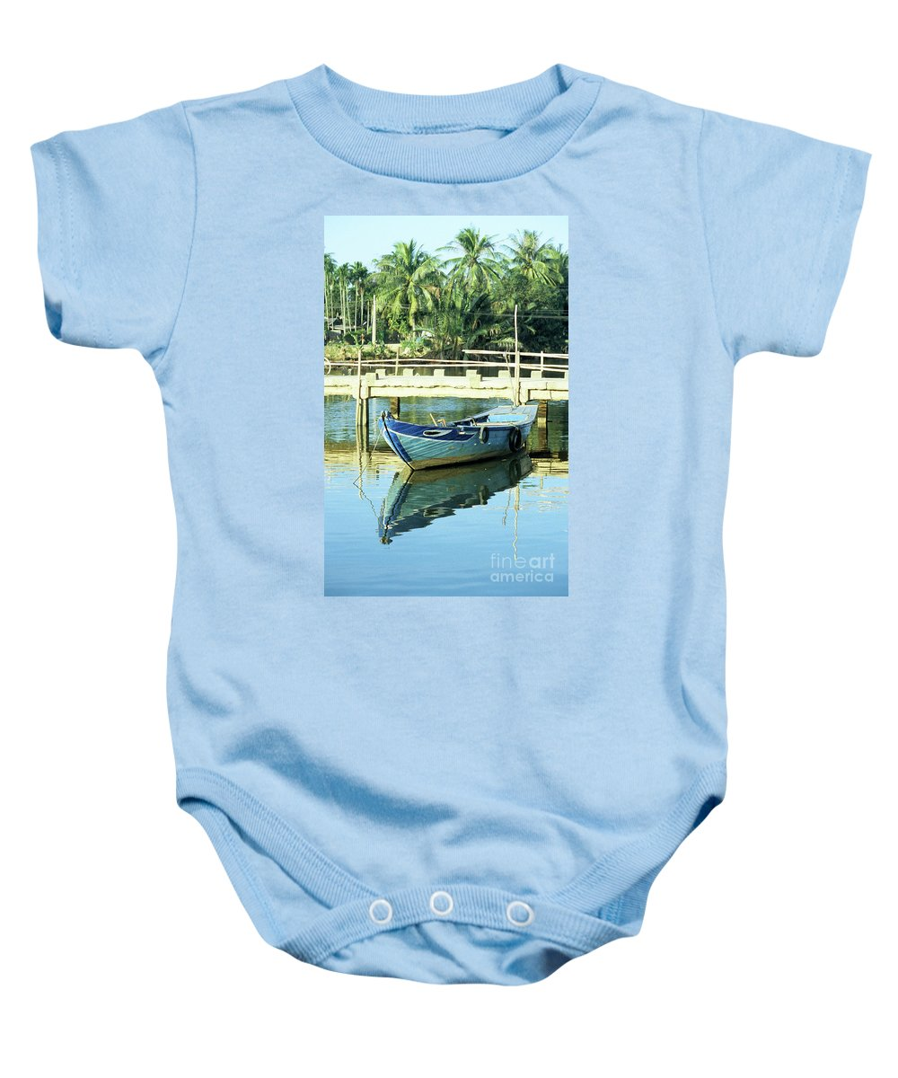 Vietnam Baby Onesie featuring the photograph Blue Boat 02 by Rick Piper Photography