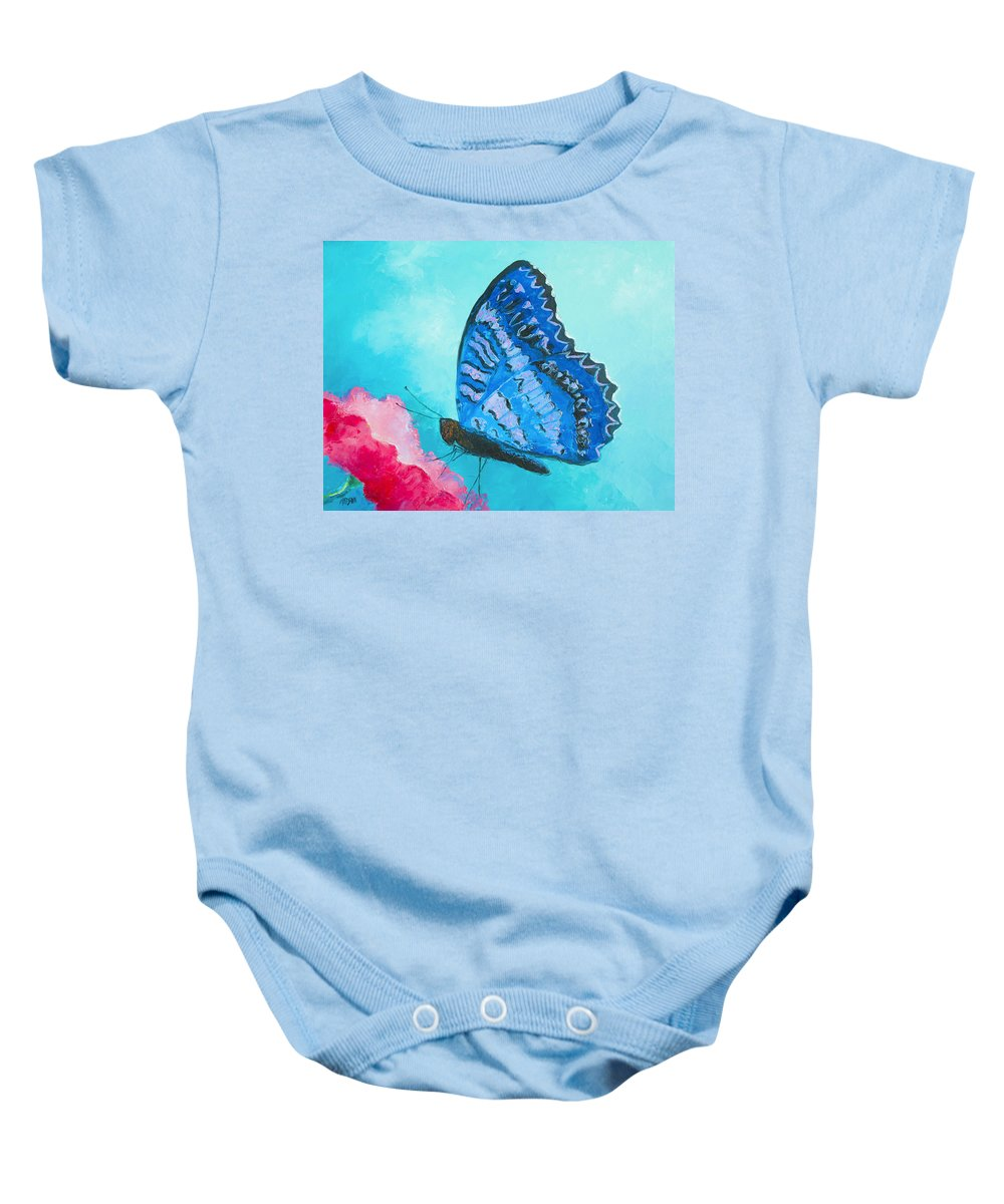 Butterfly Baby Onesie featuring the painting Blue Butterfly by Jan Matson