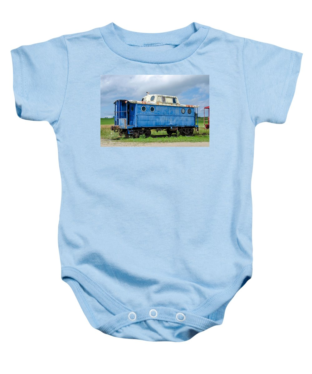 Guy Whiteley Photography Baby Onesie featuring the photograph Blue Caboose by Guy Whiteley