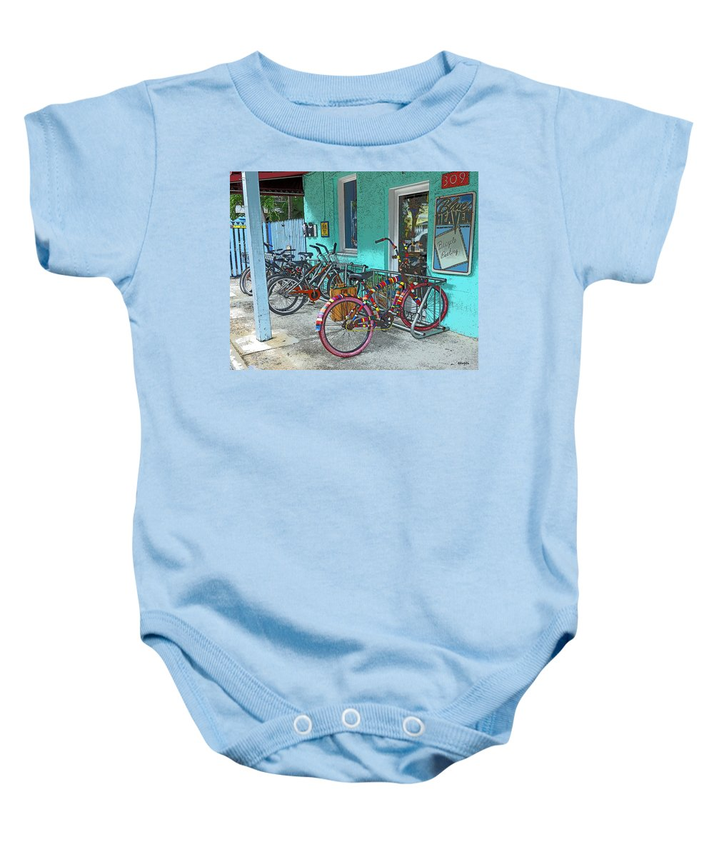 Blue Heaven Key West Baby Onesie featuring the photograph Blue Heaven Key West Bicycles by Rebecca Korpita