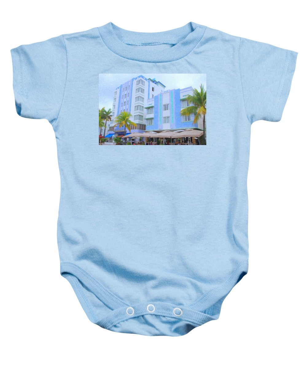 Art Deco Baby Onesie featuring the photograph Blue Hotels by Tom Reynen