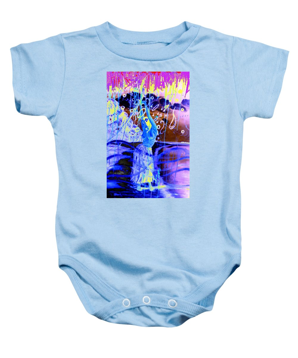 Genio Baby Onesie featuring the mixed media Blue Maqical Sensualism by Genio GgXpress
