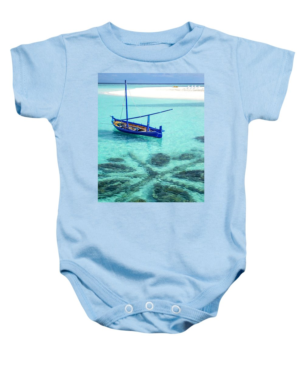 Small Baby Onesie featuring the photograph Blue Peace. Maldives by Jenny Rainbow