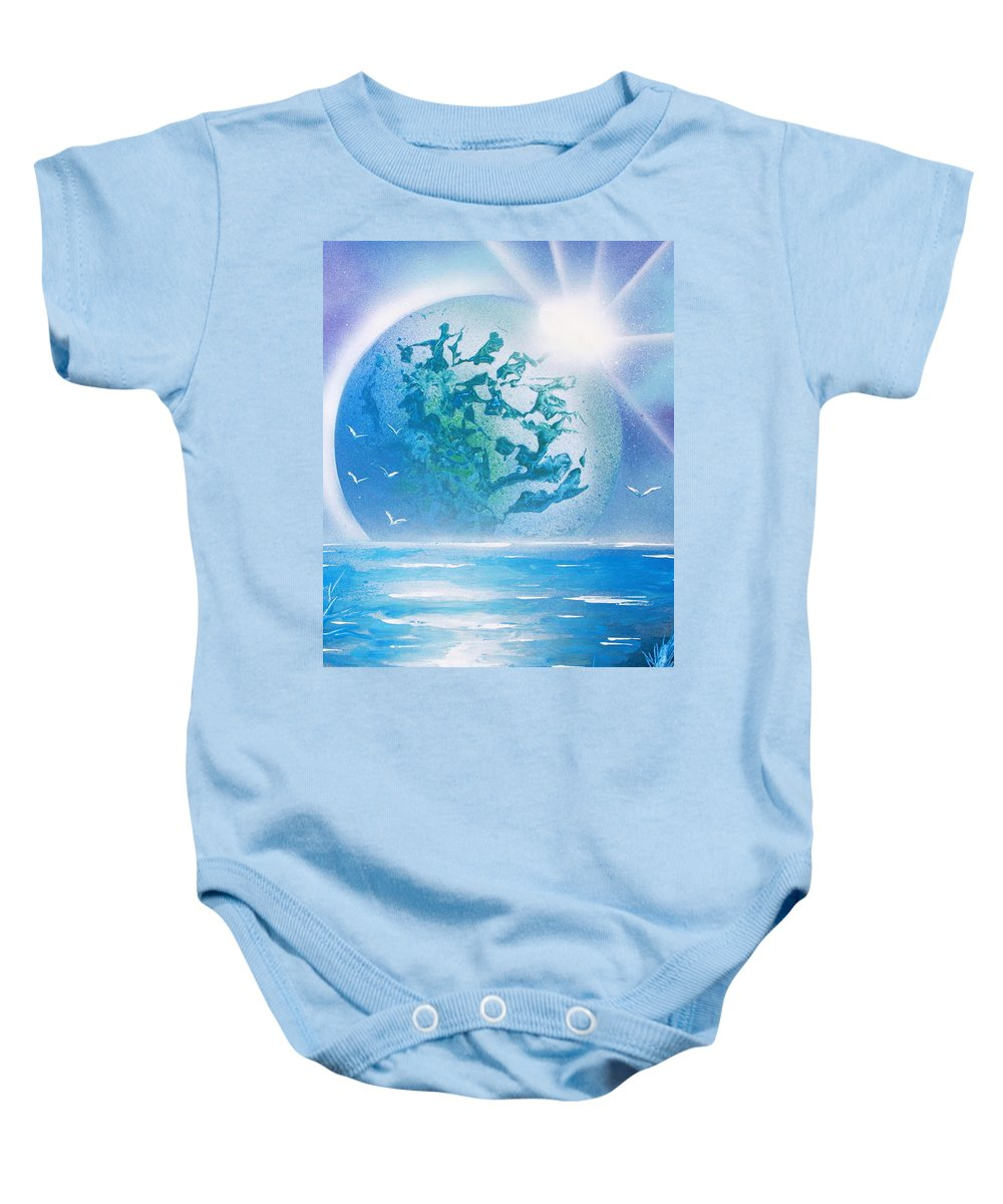 Space Art Baby Onesie featuring the painting Blue Moon by Greg Moores