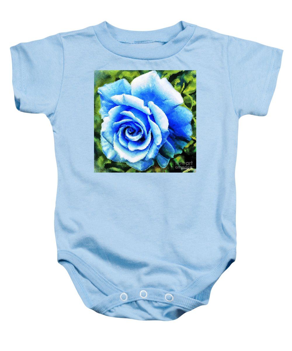Blue Rose With Brushstrokes Baby Onesie featuring the photograph Blue Rose With Brushstrokes by Barbara Griffin