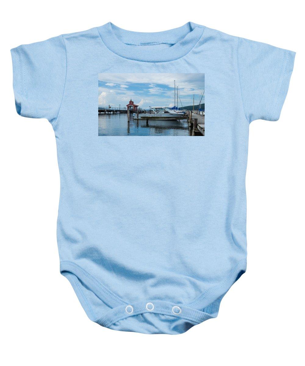Seneca Baby Onesie featuring the photograph Blue Skies Over Seneca Lake Marina by Photographic Arts And Design Studio
