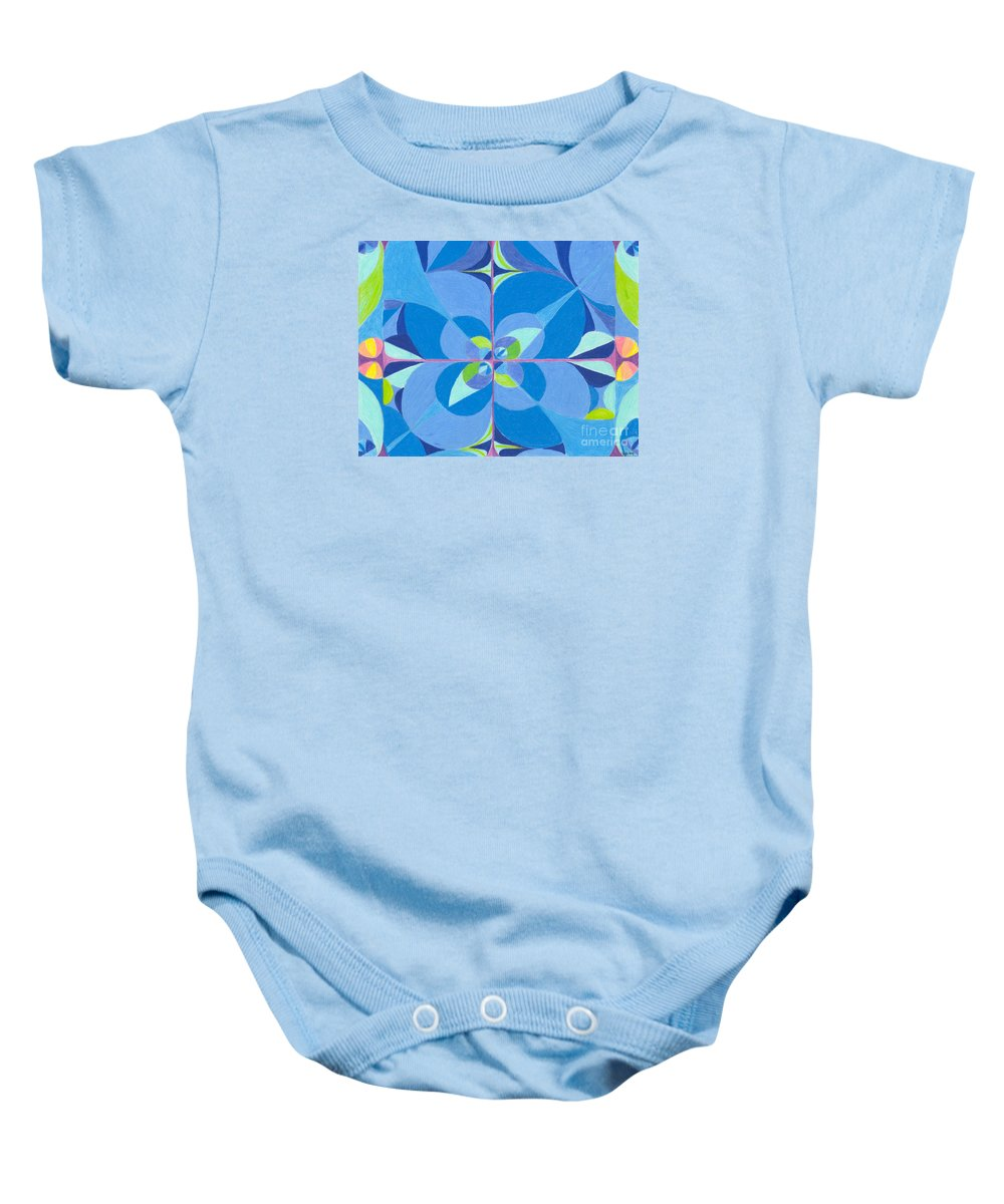 Color Baby Onesie featuring the drawing Blue Unity by Kim Sy Ok