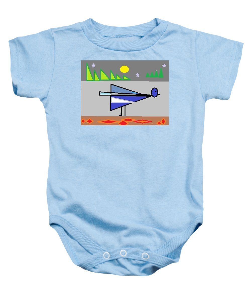 Abstract Baby Onesie featuring the digital art Bluebird Of Happiness by Lenore Senior