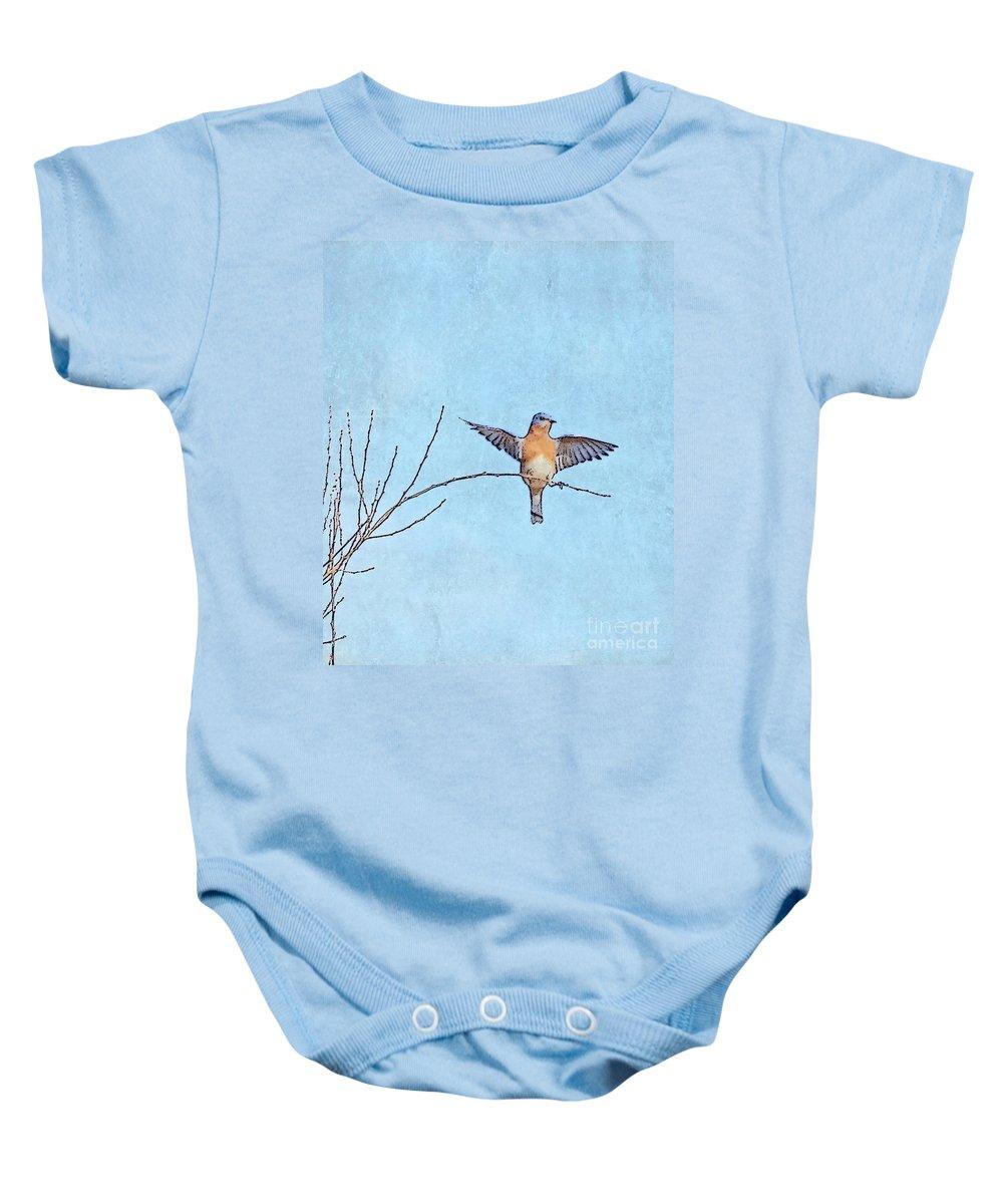 Bluebird Baby Onesie featuring the photograph Bluebird Wings - Minimalism by Kerri Farley