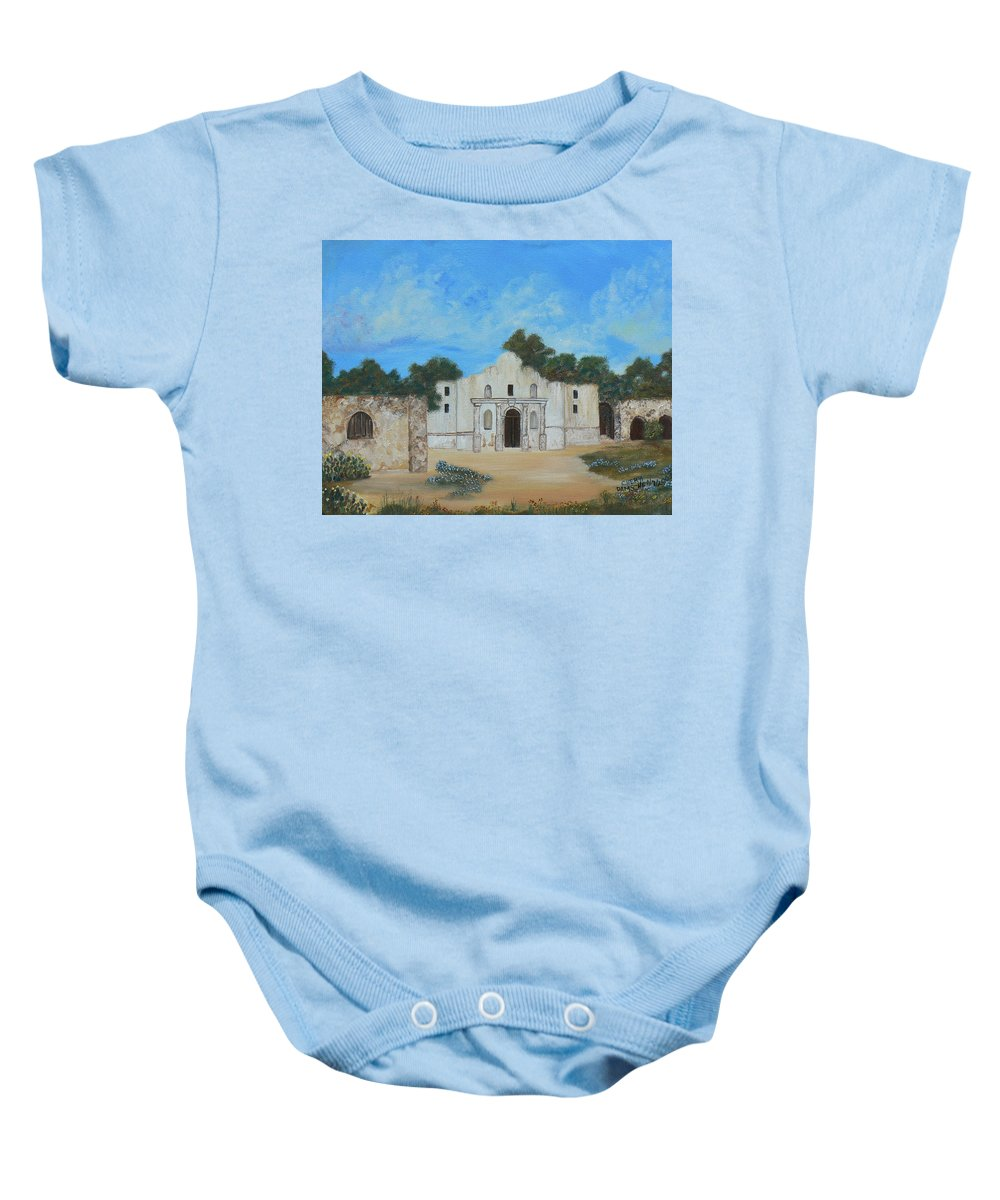 The Alamo. Bluebonnets. Landscape Baby Onesie featuring the painting Bluebonnets At The Alamo by Cheryl Damschen