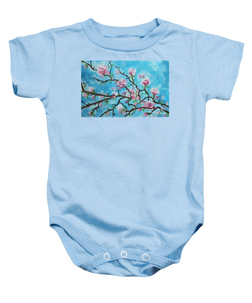 Cherry Blossoms Baby Onesie featuring the painting Branches In Bloom by Elizabeth Robinette Tyndall