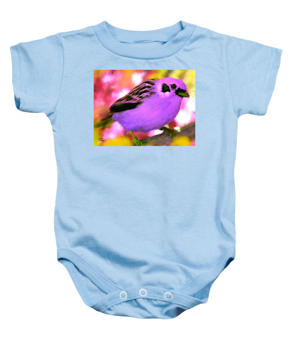 Bird Baby Onesie featuring the painting Bright Purple Finch by Bruce Nutting
