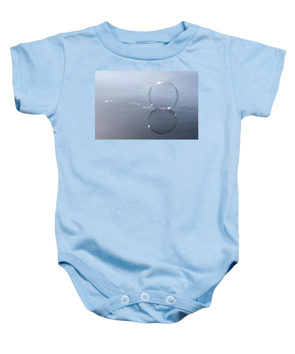 Line Baby Onesie featuring the photograph Bubble On The Line by Cathie Douglas