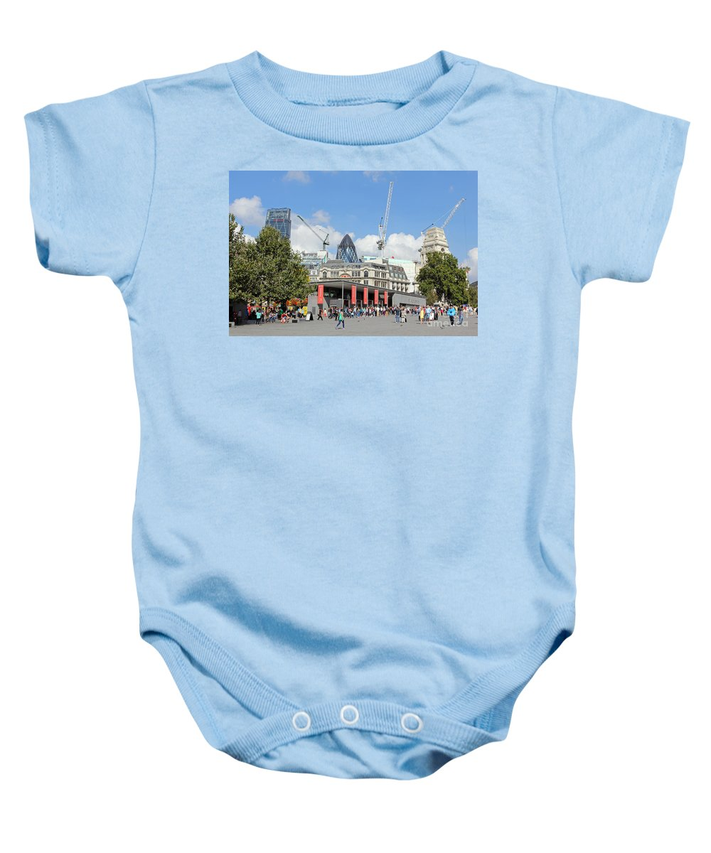 Building Work In The City Of London Baby Onesie featuring the photograph Building Work In The City Of London by Julia Gavin