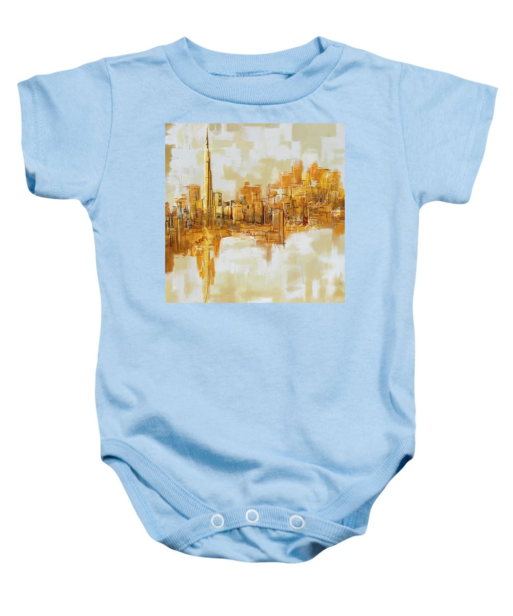 Dubai Baby Onesie featuring the painting Burj Khalifa Skyline by Corporate Art Task Force