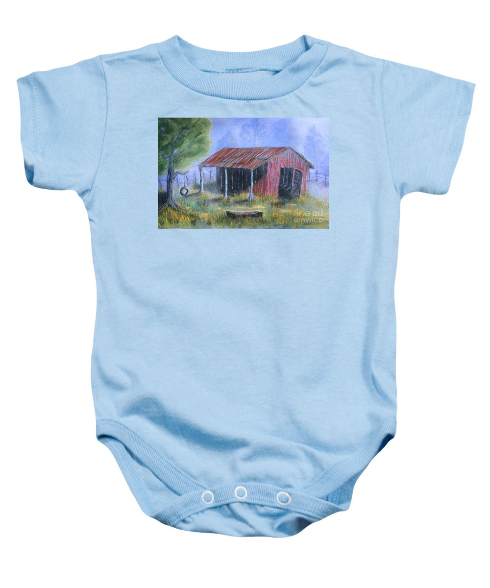 Barn Baby Onesie featuring the painting By The Barn Out Back by Jerry McElroy