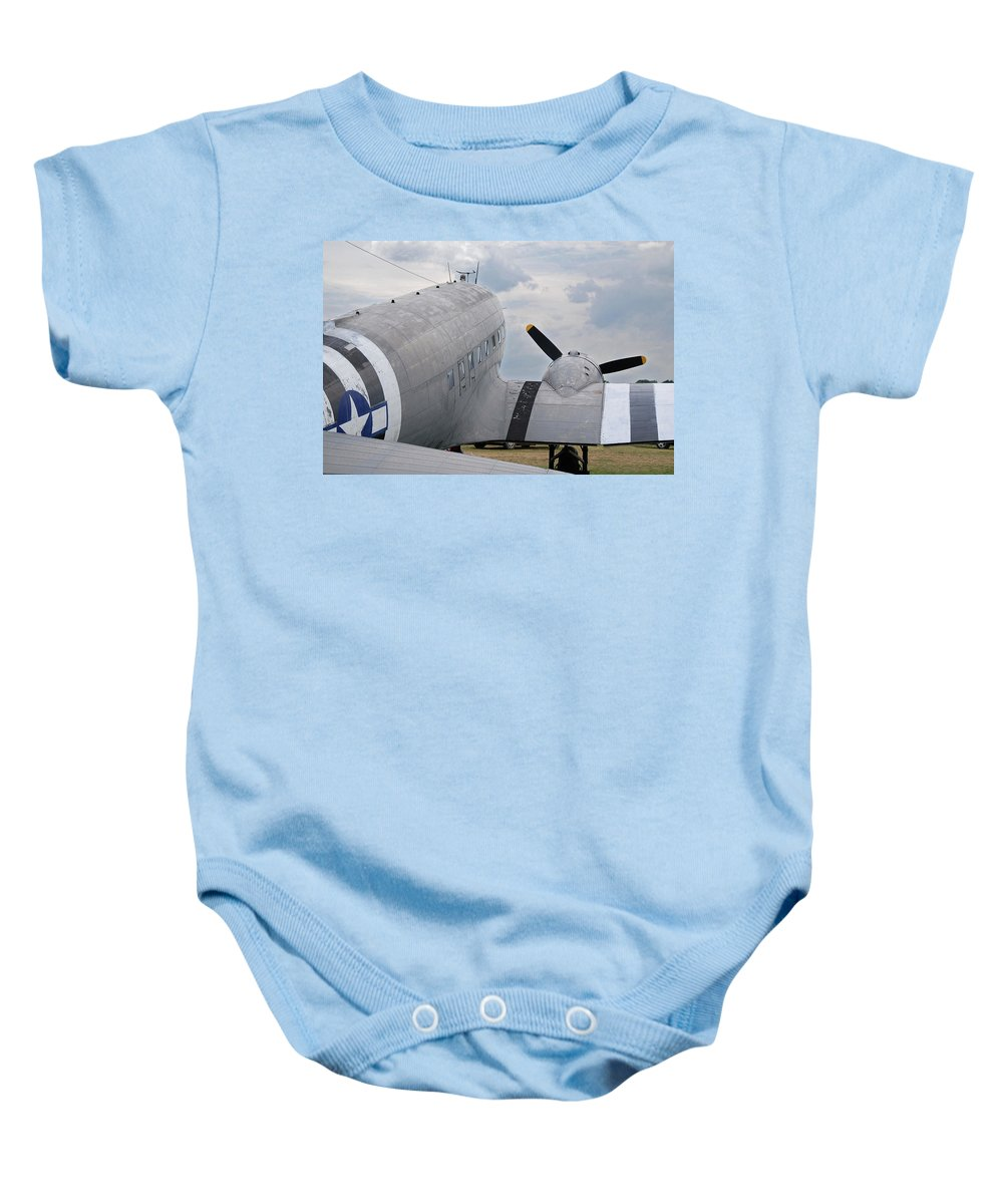 Aircraft Baby Onesie featuring the photograph C-47 3880 by Guy Whiteley