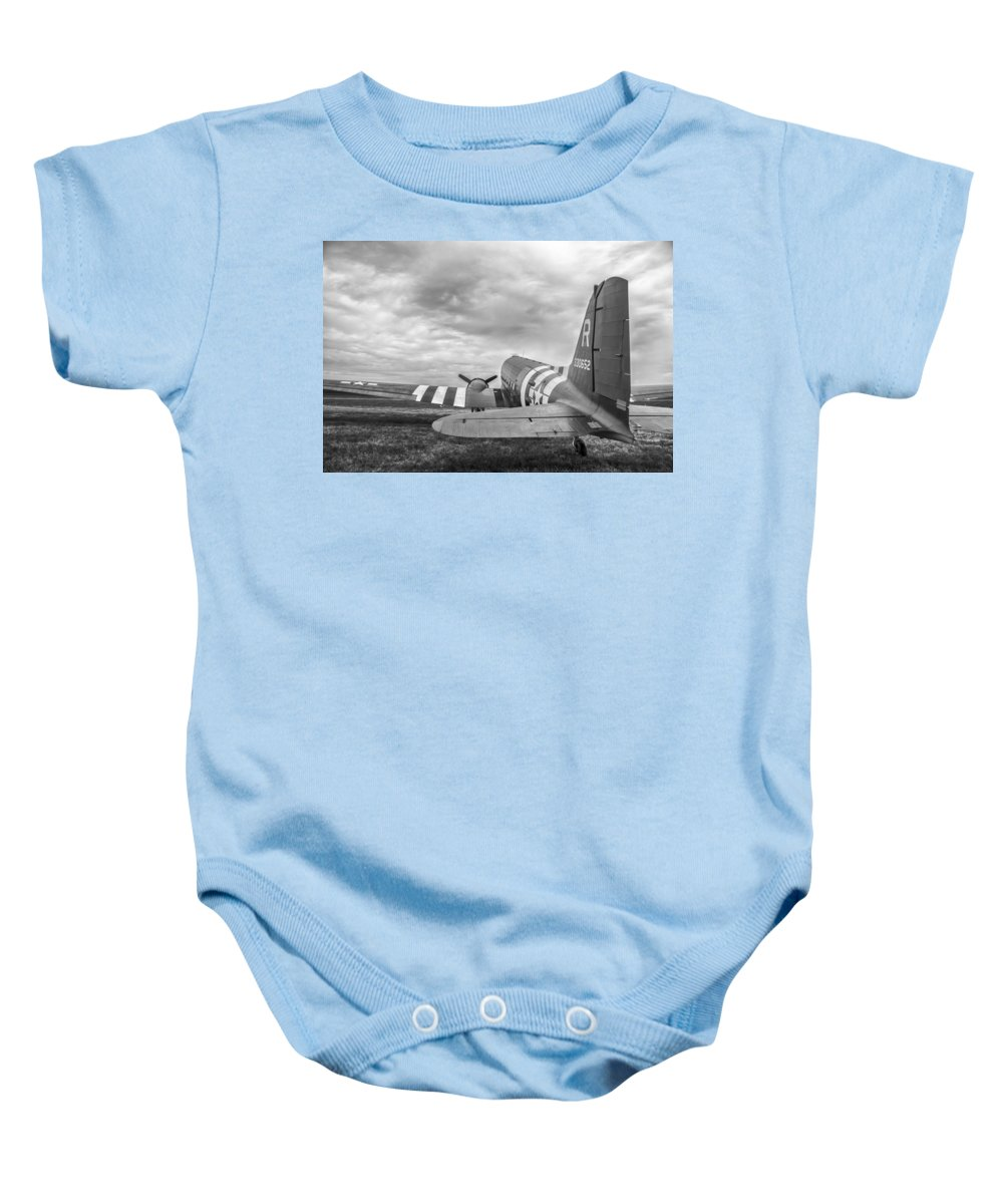 Aviation Baby Onesie featuring the photograph C-47-w7 7d06b by Guy Whiteley