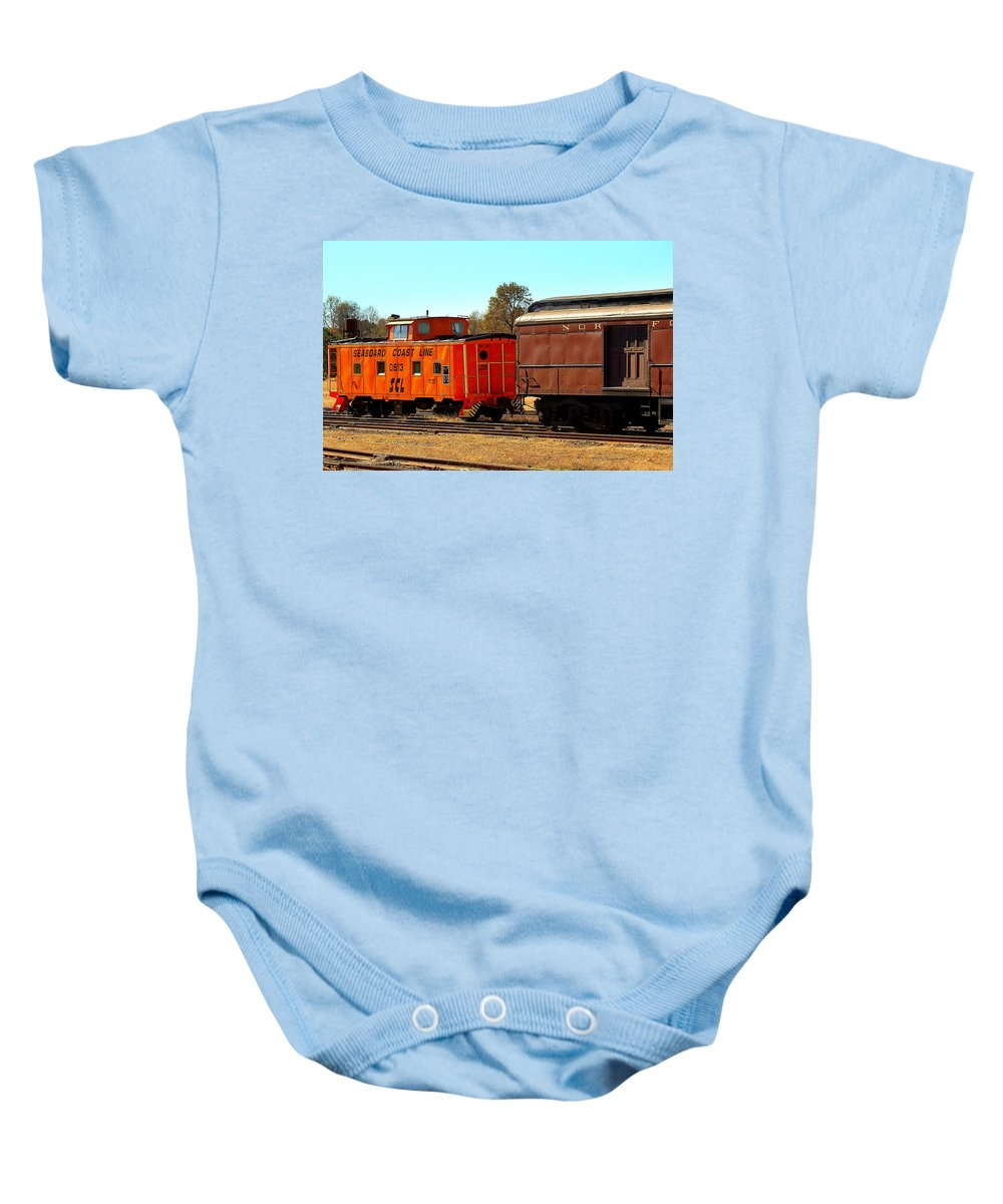 Fine Art Baby Onesie featuring the photograph Caboose And Car by Rodney Lee Williams
