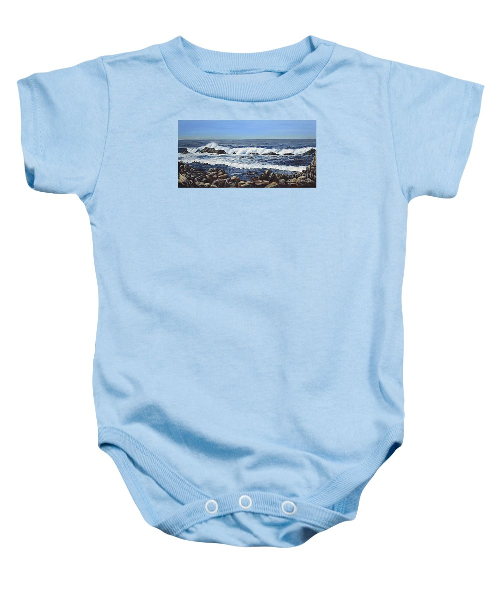 Art Baby Onesie featuring the painting California Coastline by Mary Rogers