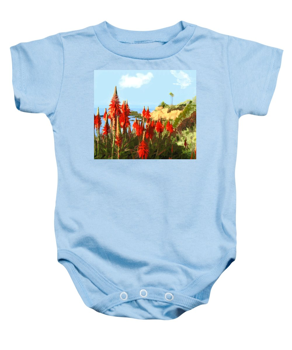 Ocean Baby Onesie featuring the painting California Coastline With Red Hot Poker Plants by Elaine Plesser