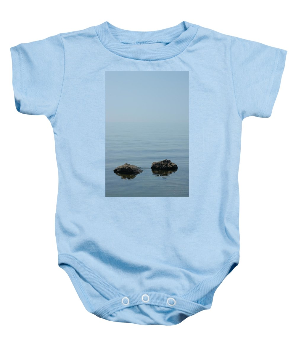 Lake Baby Onesie featuring the photograph Calm Of The Rocks by Randy Pollard