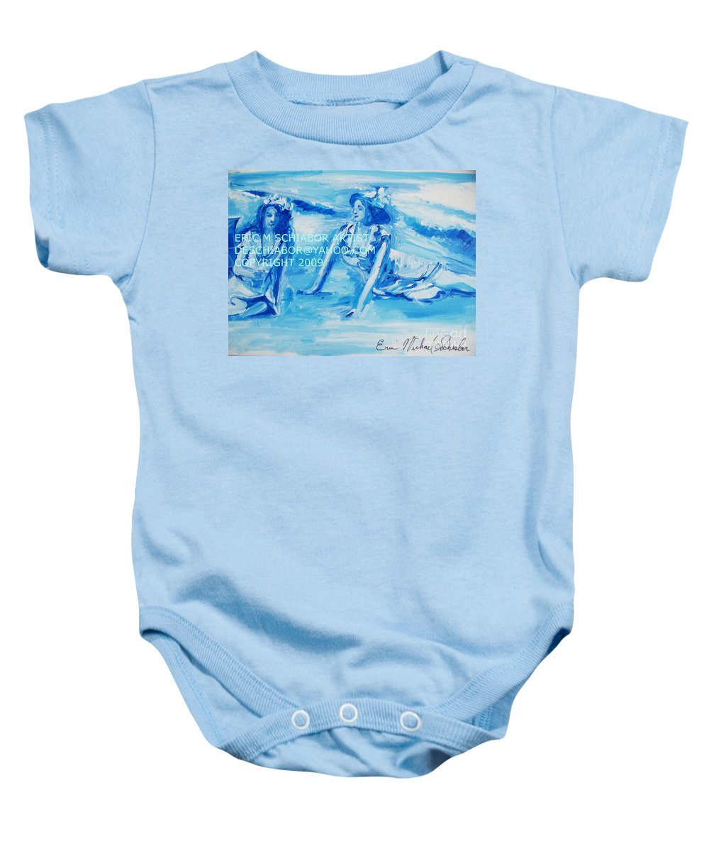 Bathing Baby Onesie featuring the painting Cape May Bathing Beauty by Eric Schiabor